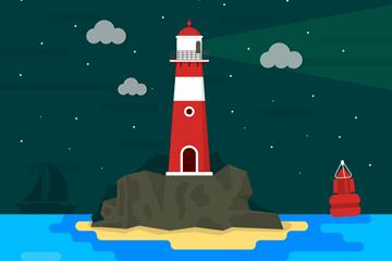 卡通大海中的红色灯塔矢量素材