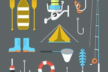 15款精致钓鱼元素图标矢量图