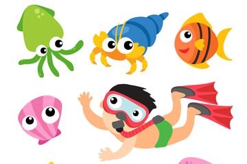 卡通潜水男孩和7款海洋动物矢量