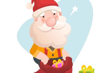 卡通拿礼物袋的圣诞老人矢量图