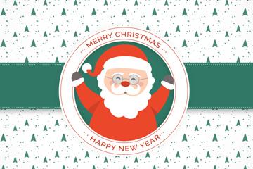 可爱戴眼镜的圣诞老人贺卡矢量图