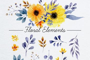 12款水彩绘花卉和叶子乐虎国际线上娱乐图