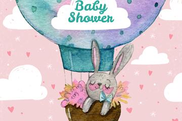 可爱热气球兔子迎婴派对海报矢量
