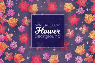 水彩绘抽象花卉无缝背景矢量图