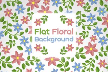 彩色扁平化花卉无缝背景矢量图