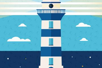 扁平化蓝白相间灯塔矢量素材
