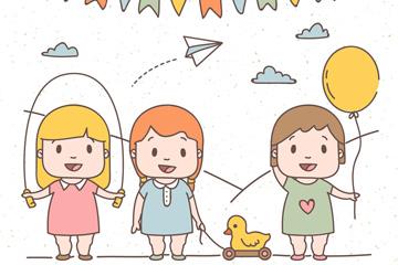 3个可爱玩耍的小女孩矢量素材