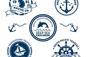 5款深蓝色航海徽章矢量素材