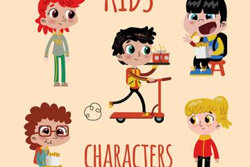 5款卡通大眼睛儿童矢量素材