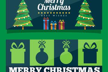 2款绿色圣诞节祝福banner矢量图