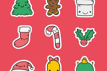 9款彩绘可爱圣诞元素矢量素材