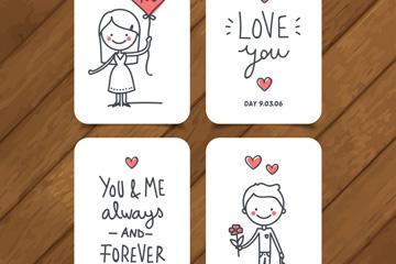 4款手绘爱的卡片矢量素材