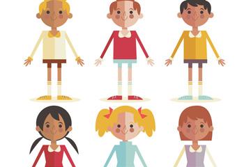 6款可爱扁平化儿童矢量素材