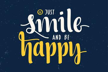 创意开心微笑快?#24535;?#22909;艺术字矢量素材