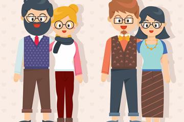 2对戴眼镜的情侣设计矢量图