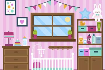 彩色婴儿房家居设计矢量素材