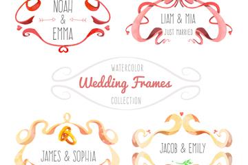 4款水彩绘婚礼丝带框架矢量素材