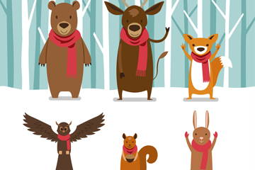 6只可爱雪地中的动物矢量素材