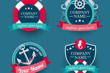 4款创意航海商务徽章矢量素材