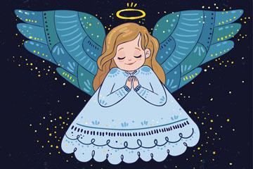 彩绘金发祈祷的圣诞天使矢量图