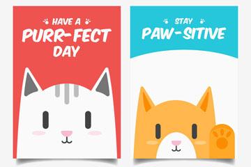 2款可爱猫咪祝福卡片矢量素材