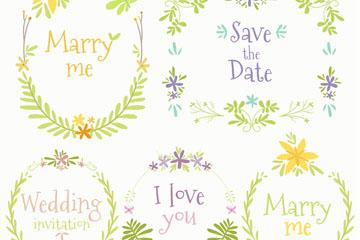 5款彩色婚礼花环矢量素材