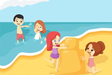 卡通海边沙滩玩耍的4个孩子矢量素材