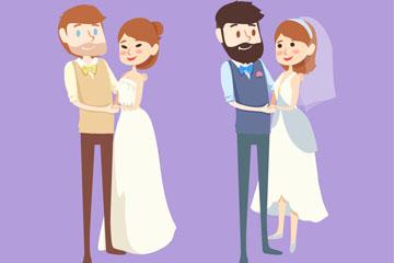 2对时尚婚礼新人矢量素材