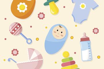 8款可爱婴儿元素矢量素材