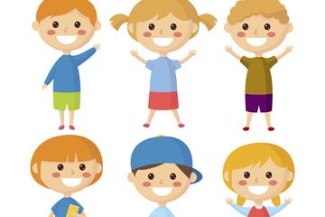 6款阳光笑脸儿童矢量素材