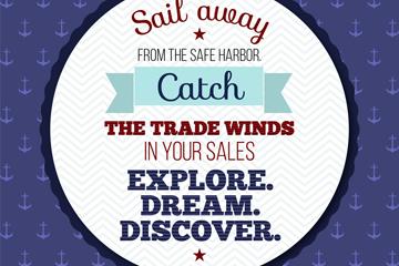 创意航海隽语海报矢量素材