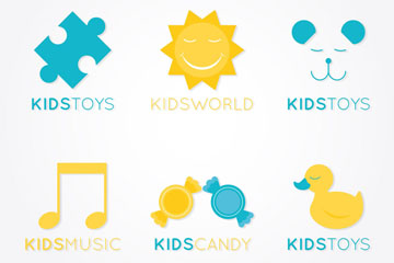 6款扁平化婴儿产品标志乐虎国际线上娱乐图
