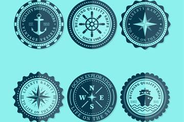 6款精美圆形航海徽章矢量图