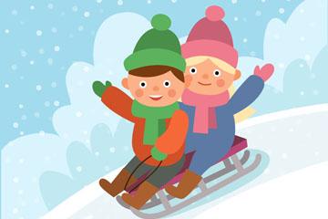 卡通玩雪橇的2个孩子矢量素材