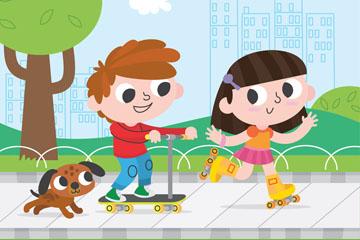 可爱街边玩耍的2个孩子和宠物狗