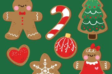 7款可爱圣诞元素饼干矢量素材
