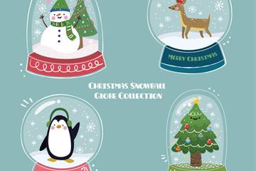 4款彩色圣诞雪花玻璃球矢量图