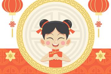 可爱拜年的女孩春节贺卡矢量素材
