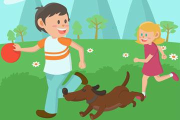郊外2个玩耍的孩子和狗矢量图