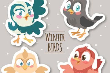 4款卡通冬季小鸟贴纸矢量图