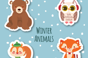 4款可爱冬季动物贴纸元素矢量素