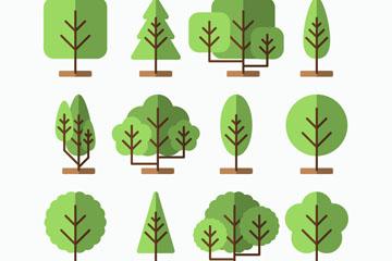 12款扁平化绿色树木矢量图