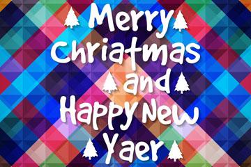 彩色格纹圣诞新年快乐艺术字海报