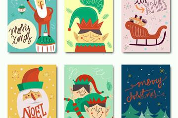 6款彩绘圣诞快乐卡片矢量素材