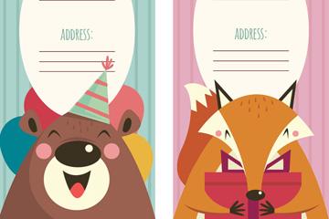 2款可爱动物节日派对邀请卡矢量