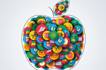 创意校园图标组合苹果矢量图