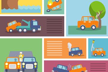 9款行车交通事故插画矢量图