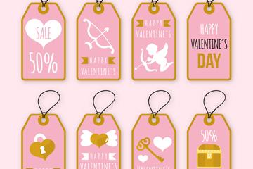 8款金边情人节促销吊牌矢量图