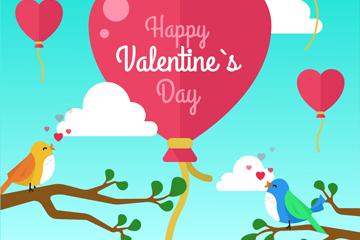 彩色情人节气球和情侣鸟矢量图