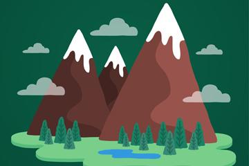 三座卡通雪山风景矢量素材